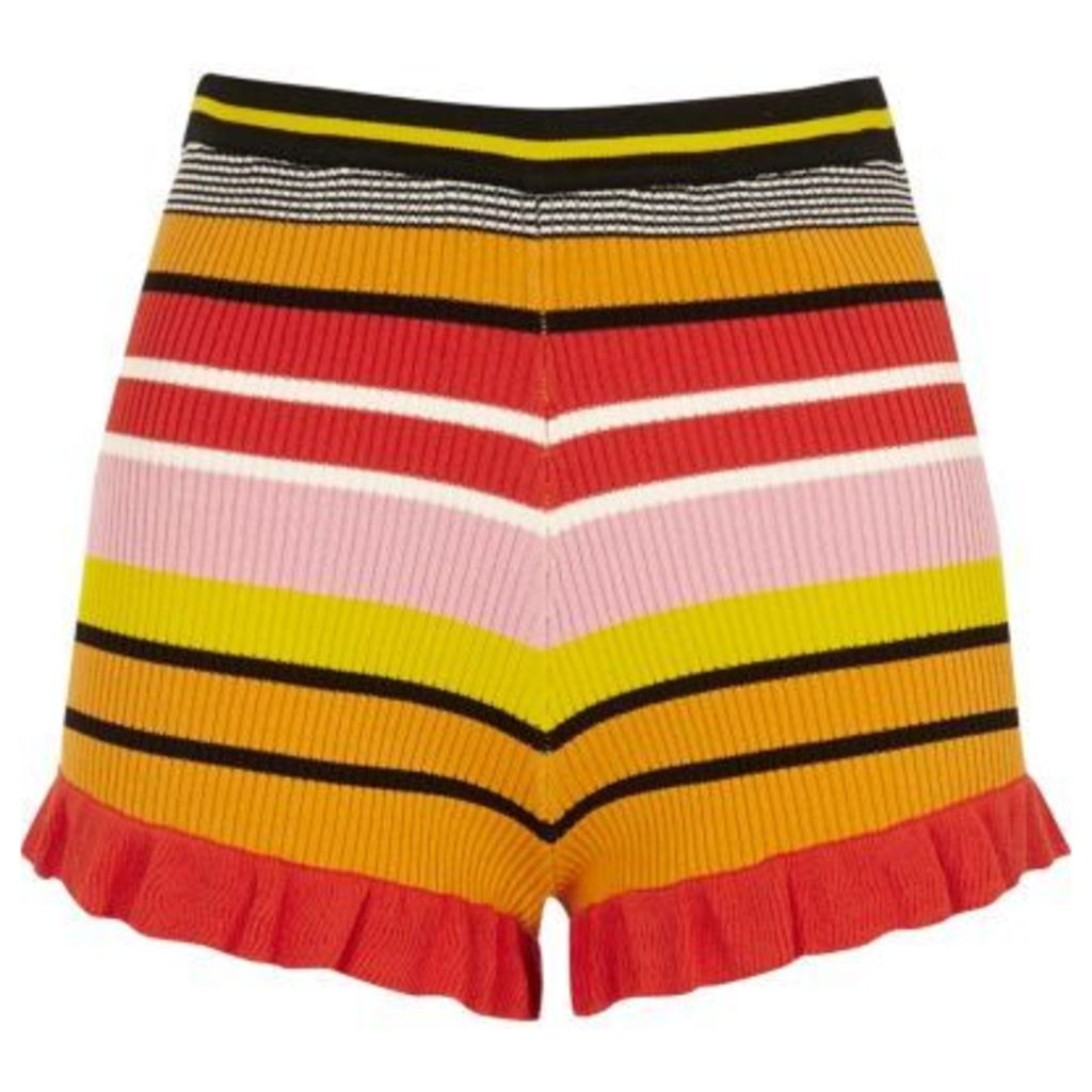 River Island Womens Pink stripe knit frill hem shorts