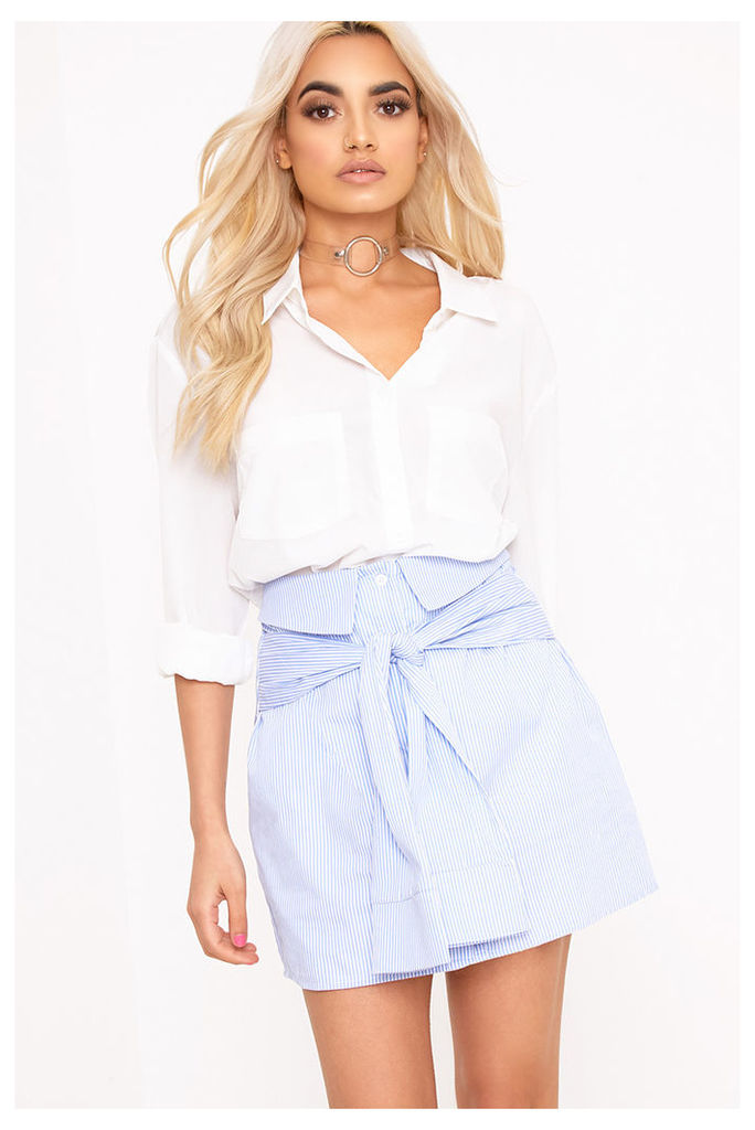Bia Blue Pinstripe Shirt Skirt