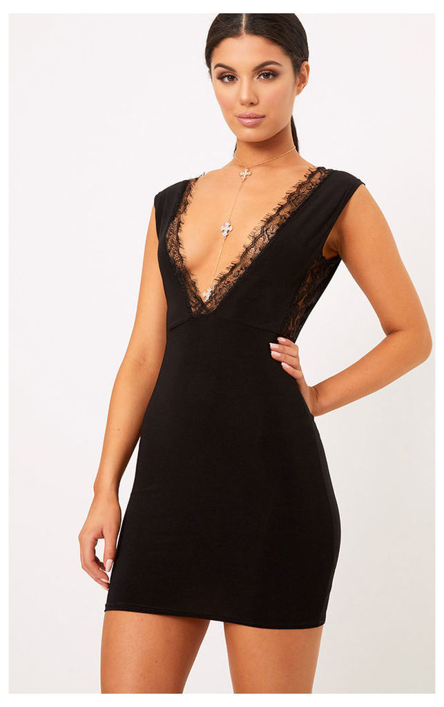 Mirella Black Lace Trim Slinky Bodycon Dress