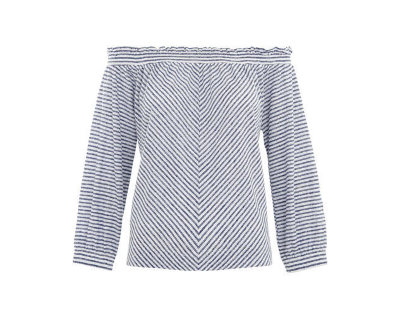 Stripe Easy Bardot Linen Top