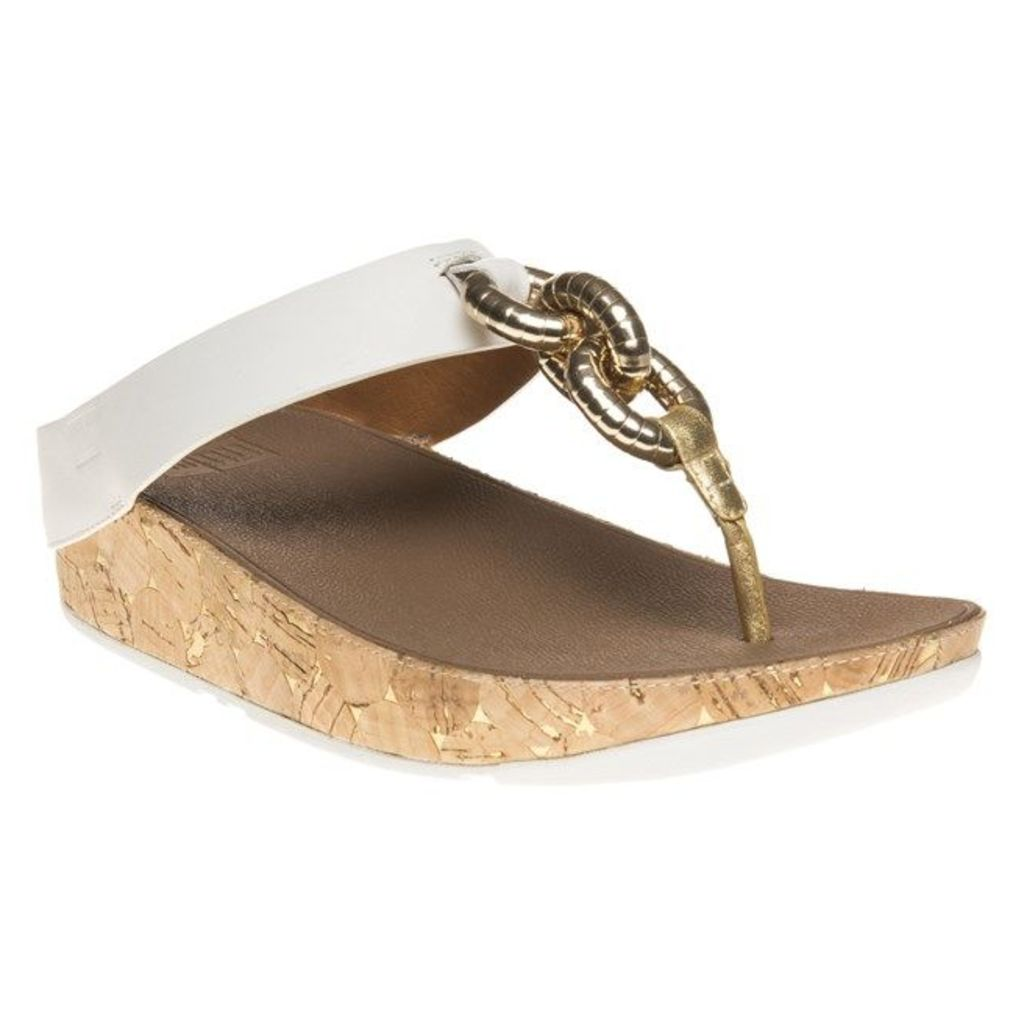 FitFlop Superchain Leather Toe Post Sandals, Urban White