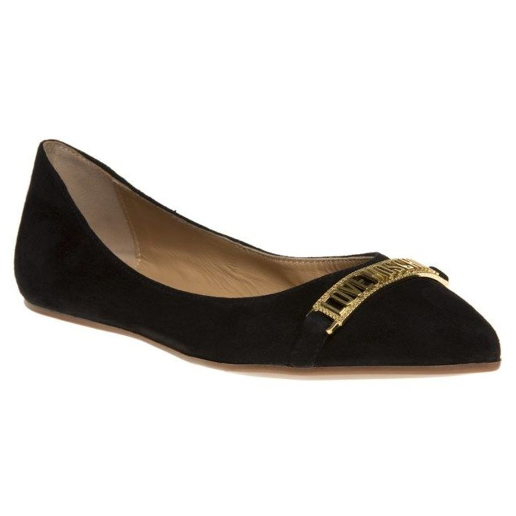 Love Moschino Logo Ballet Point Shoes, Black