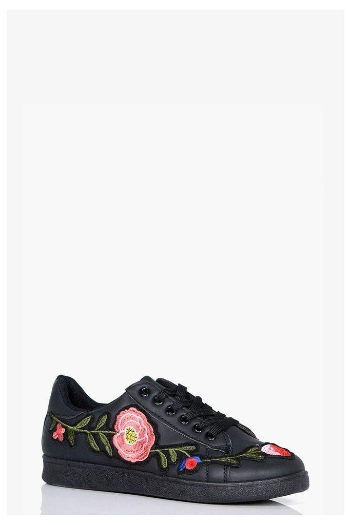 Floral Embroidered Trainer - black