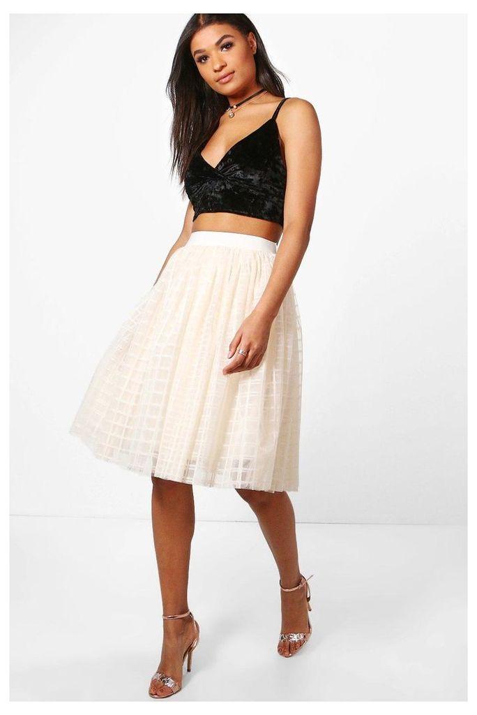 Amala Grid Tulle Full Midi Skirt - cream