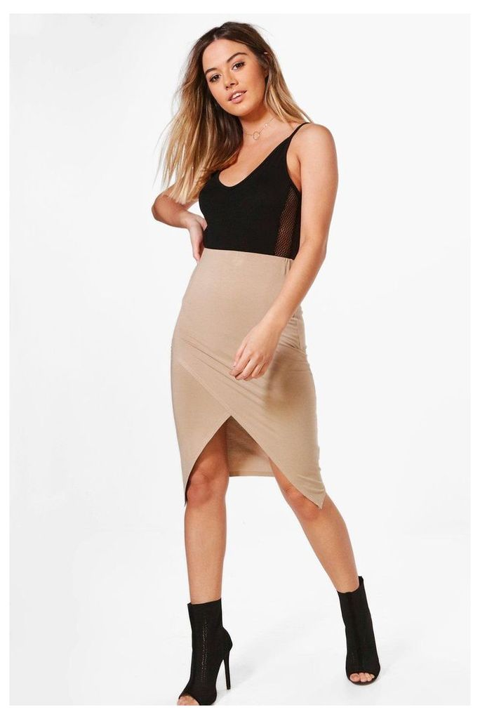 Willow Jersey Wrap Midi Skirt - stone