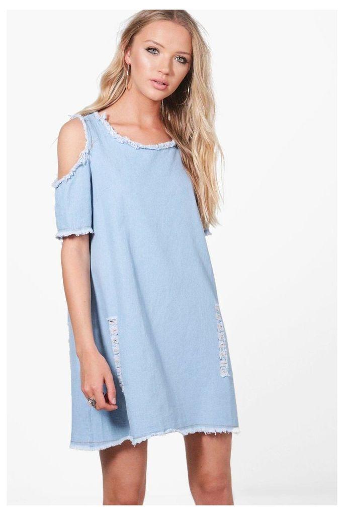 Cold Shoulder Distressed Bodycon Dress - blue