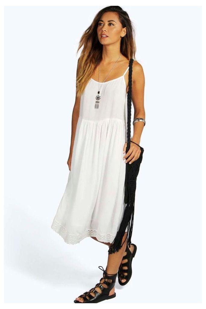 Woven Crochet Hem Midi Dress - white