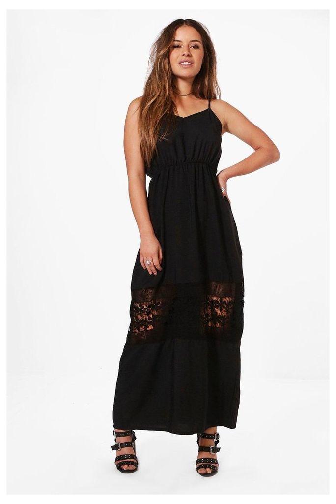 Olivia Crochet Insert Plunge Maxi Dress - black