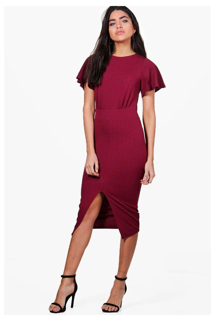 Angel Sleeve Wiggle Midi Dress - berry