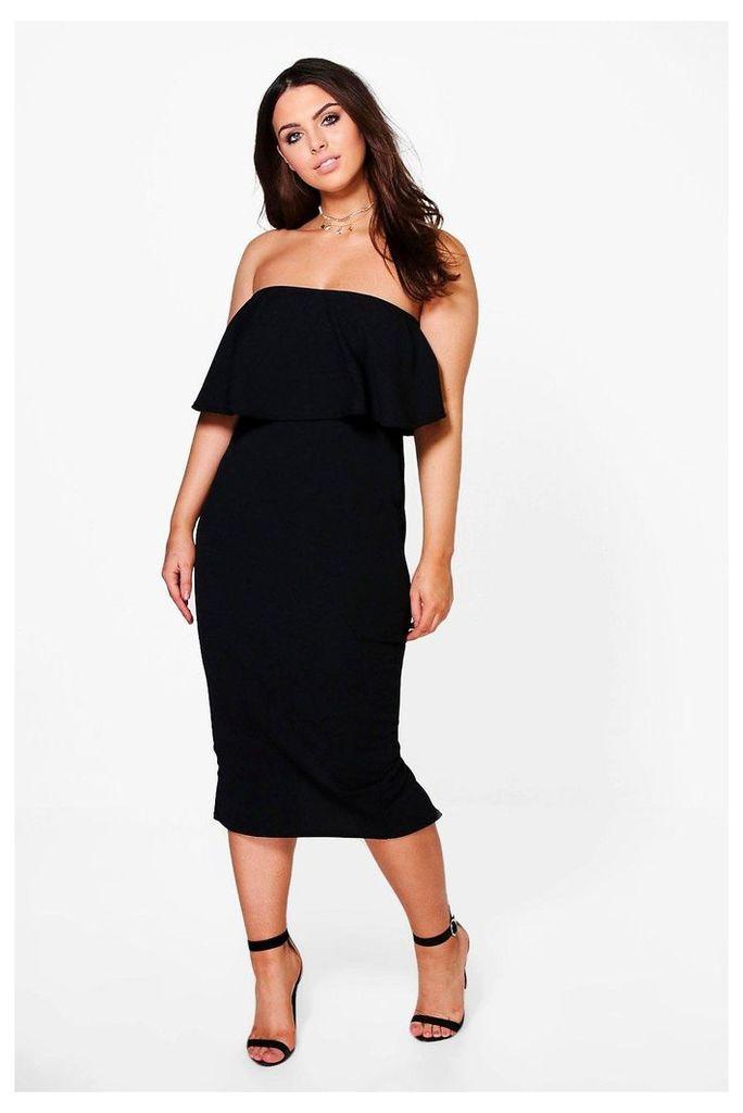 Ella Bandeau Ruffle Midi Dress - black