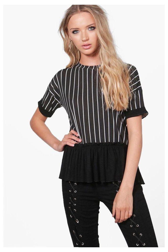 Ruffle Stripe T-Shirt - black