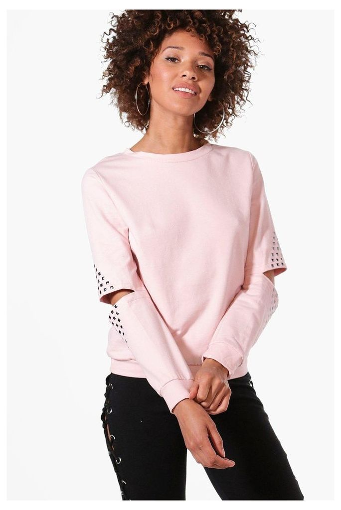 Studded Cut Out Sleeve Sweatshirt - pink