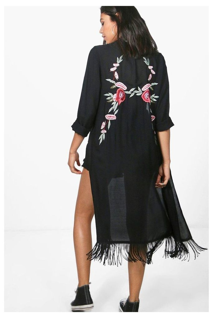 Boutique Embroidered Back Kimono - black