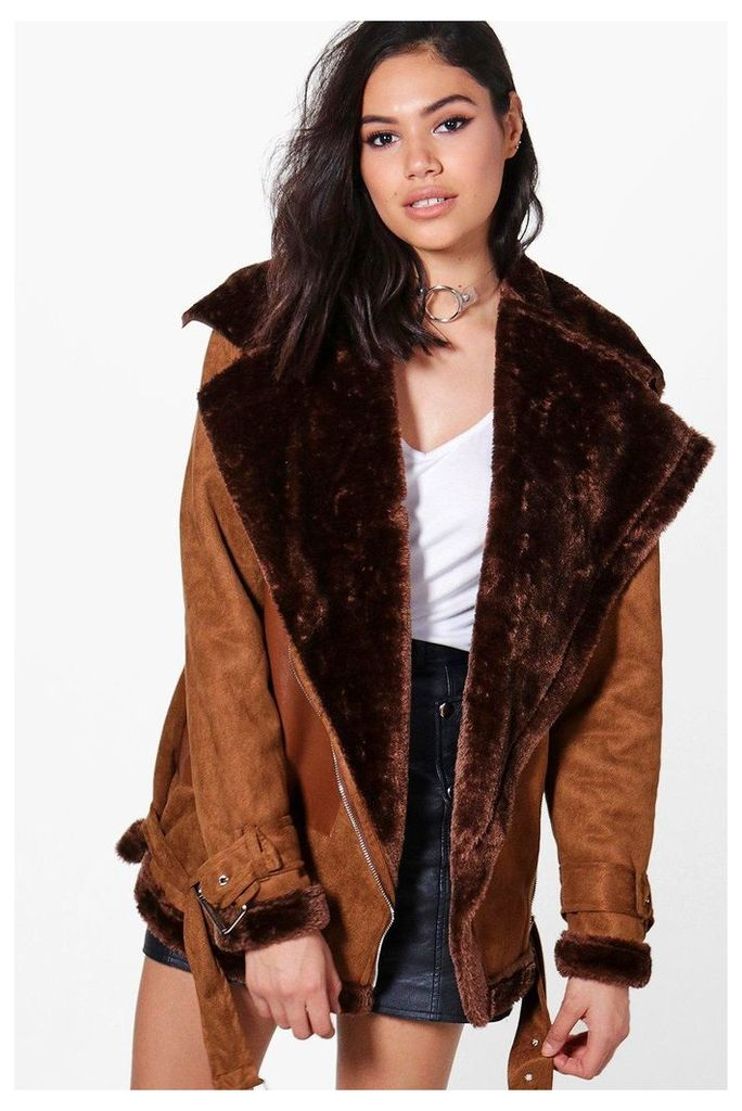 Faux Fur Lined Bonded Aviator Jacket - brown