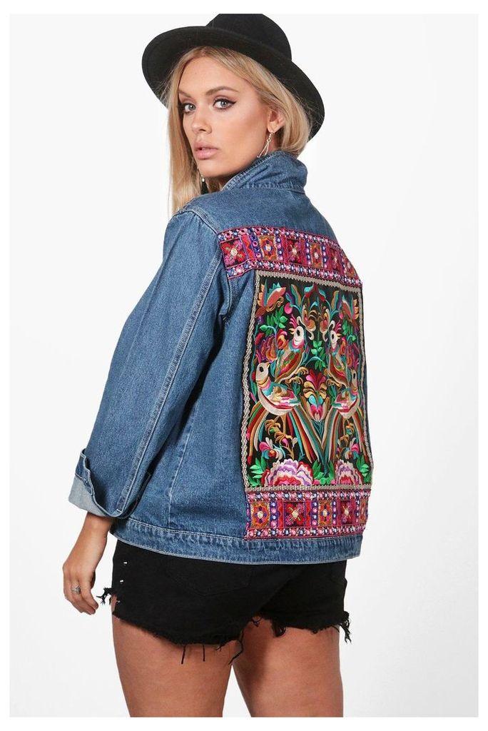 Sally Embroidered Denim Jacket - blue