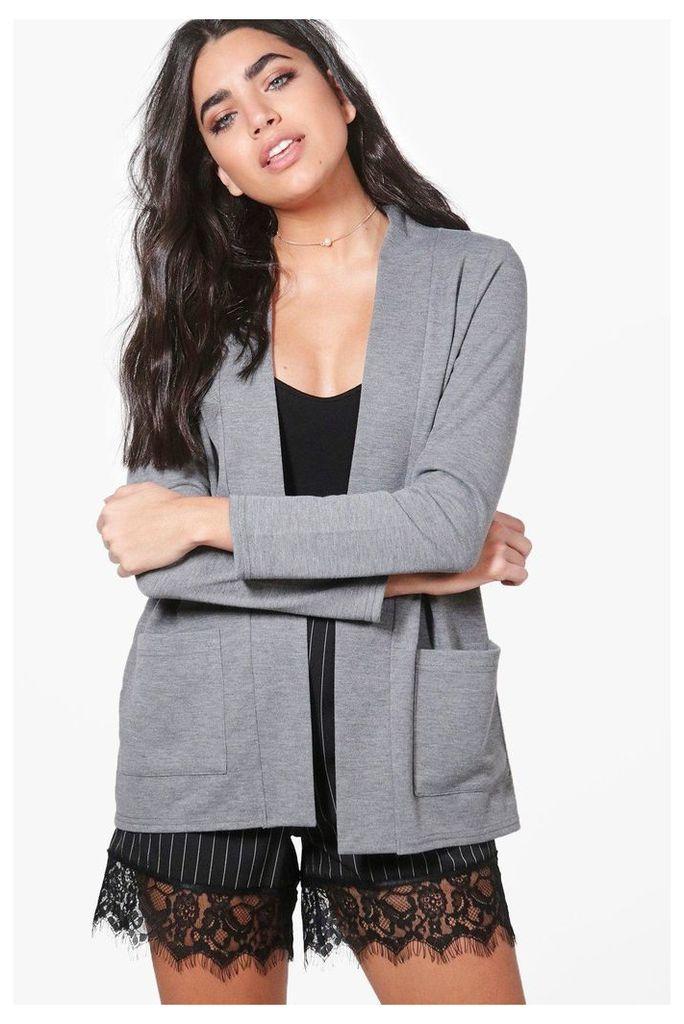 Pocket Collarless Blazer - grey