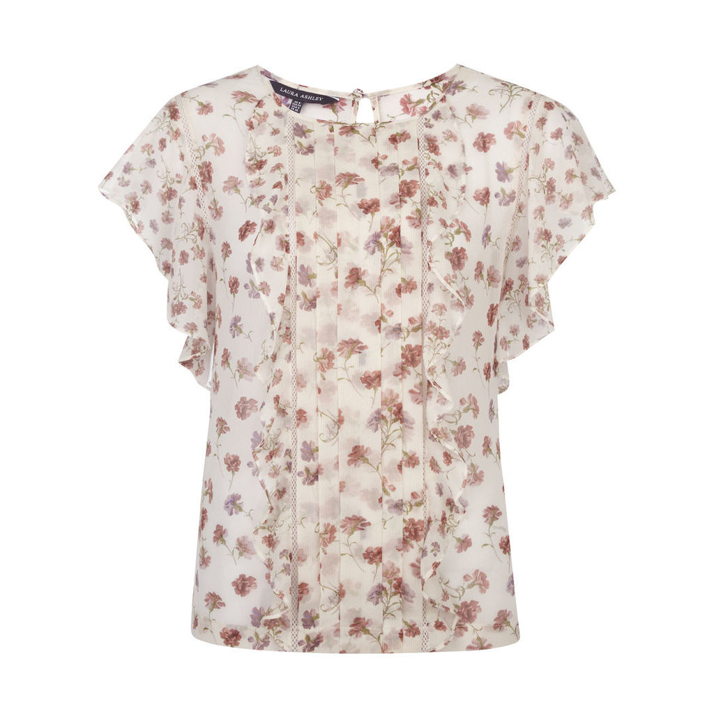 Carnation Floral Ruffle Blouse