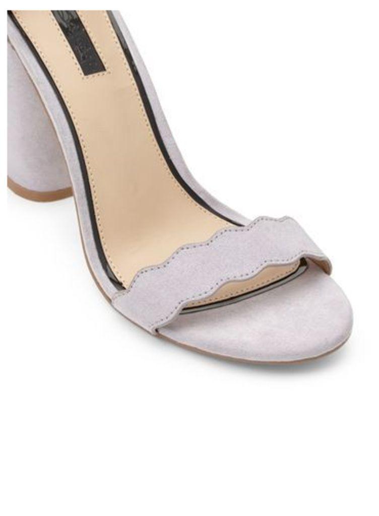 Womens COPENHAGEN Scallop Block Heel Sandals, Grey