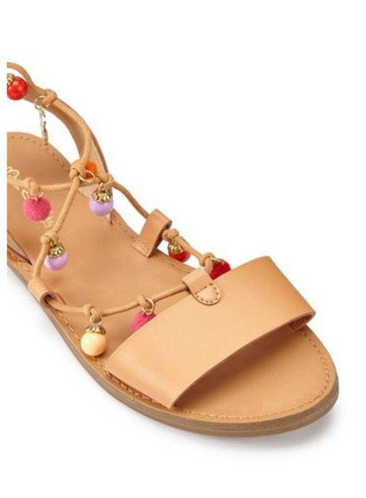 Womens PEBBLES Pom Sandals, Tan