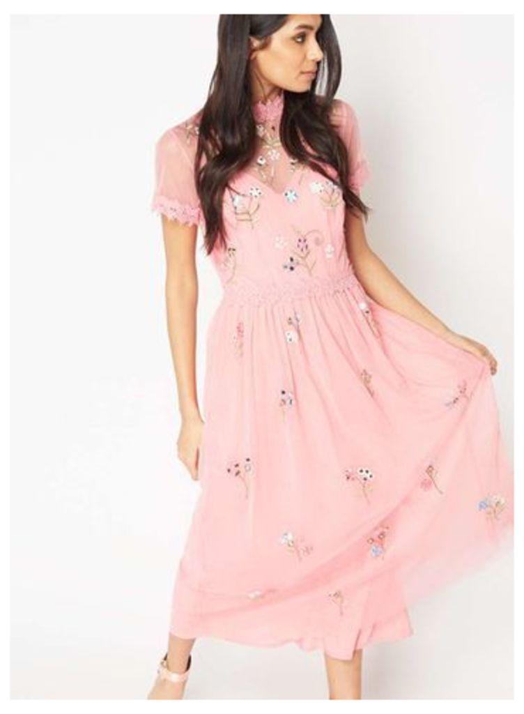 Womens PREMIUM Mirror Embellished Midi Dress, Pink