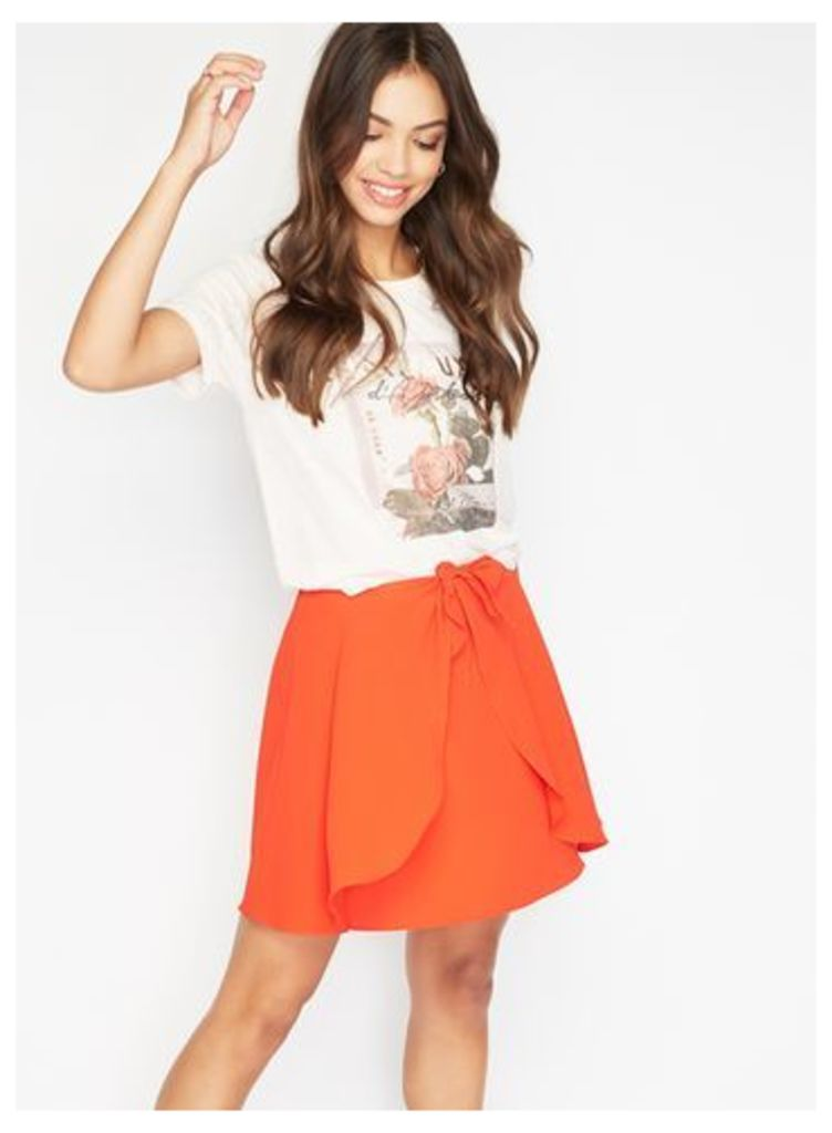 Womens Red Tie Waist Mini Skirt, Red