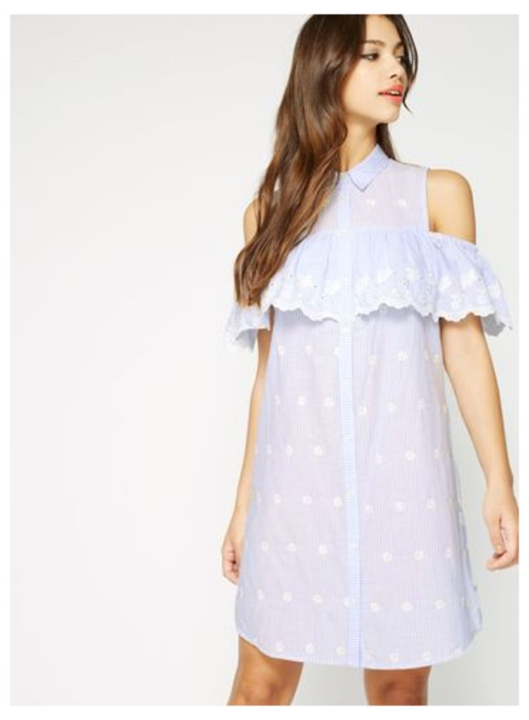 Womens Embroidered Cold Shoulder Shirt Dress, Pale Blue