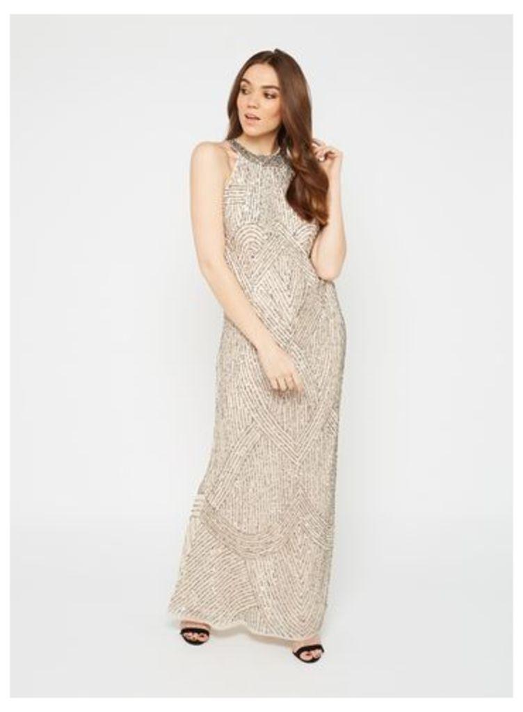 Womens PREMIUM Nude Linear Bead Maxi Dress, Nude