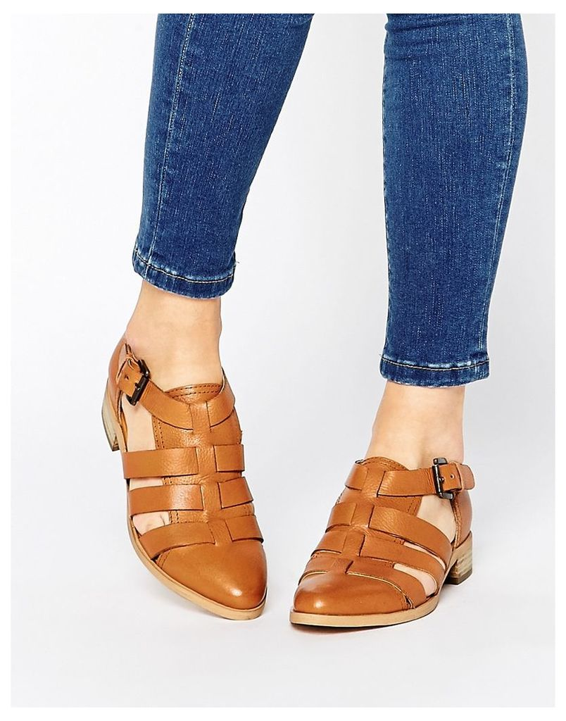 Park Lane Strappy T Bar Leather Flat Shoes - Tan