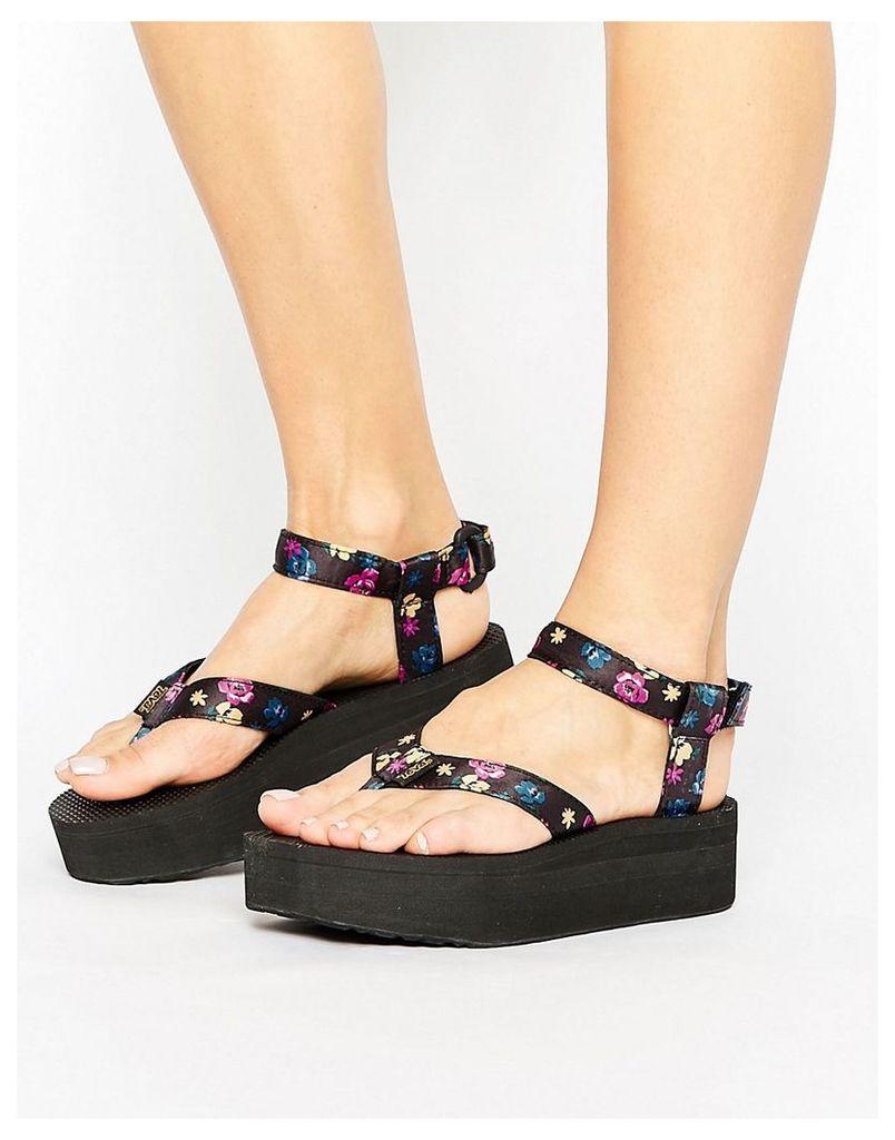 Teva Floral Flatform Sandal - Black