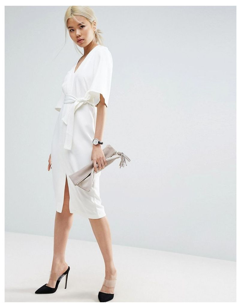 ASOS Clean Obi Wrap Dress with V Front - Ivory