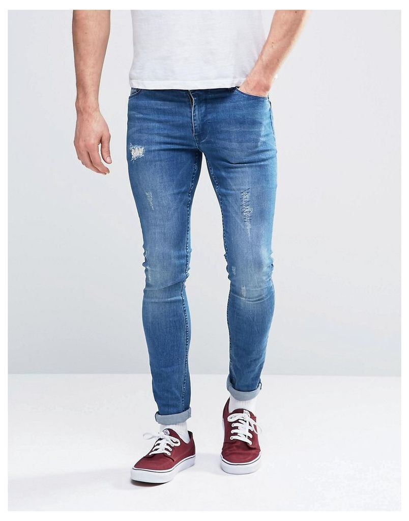 ASOS Extreme Super Skinny Jeans With Abrasions - Mid blue