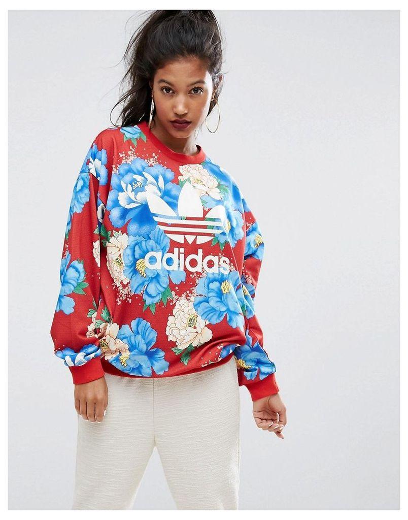 adidas Originals Farm Big Floral Print Sweatshirt - Multicolor