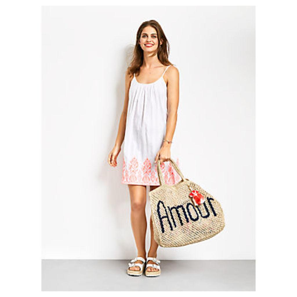 hush Santorini Dress, White/Fluro Pink