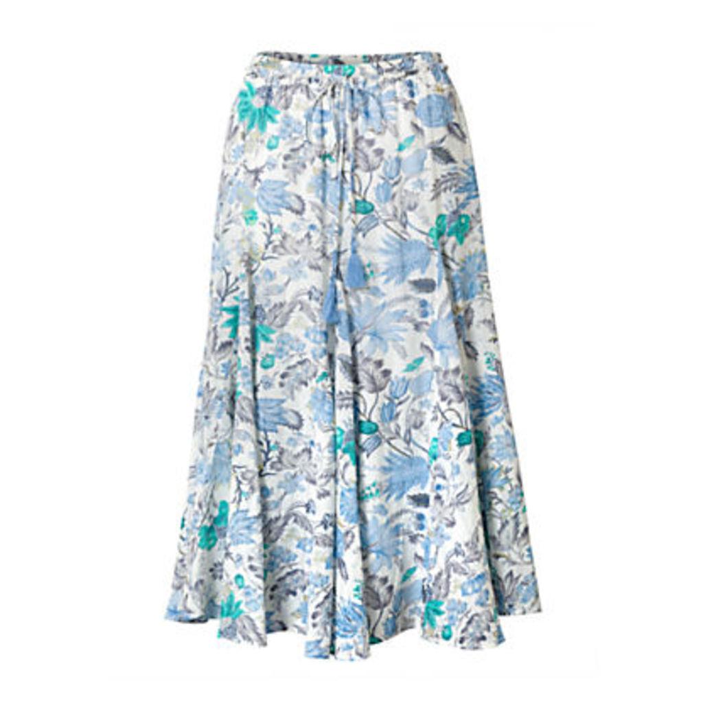 East Marianne Floral Print Skirt, Pearl/Multi