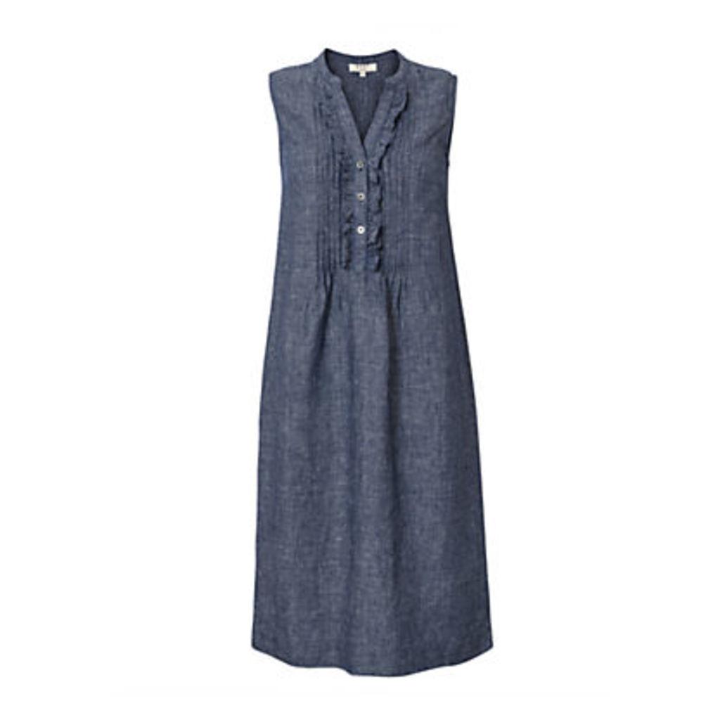 East Linen Cross Dye Pintuck Dress, Indigo