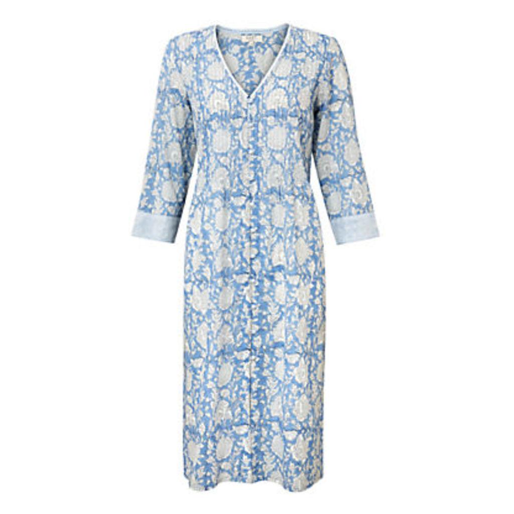 East Jaya Print Pintuck Dress, Cornflower
