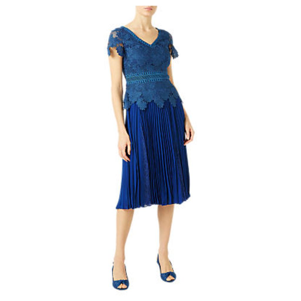 Jacques Vert Plisse Lace Insert Skirt, Blue