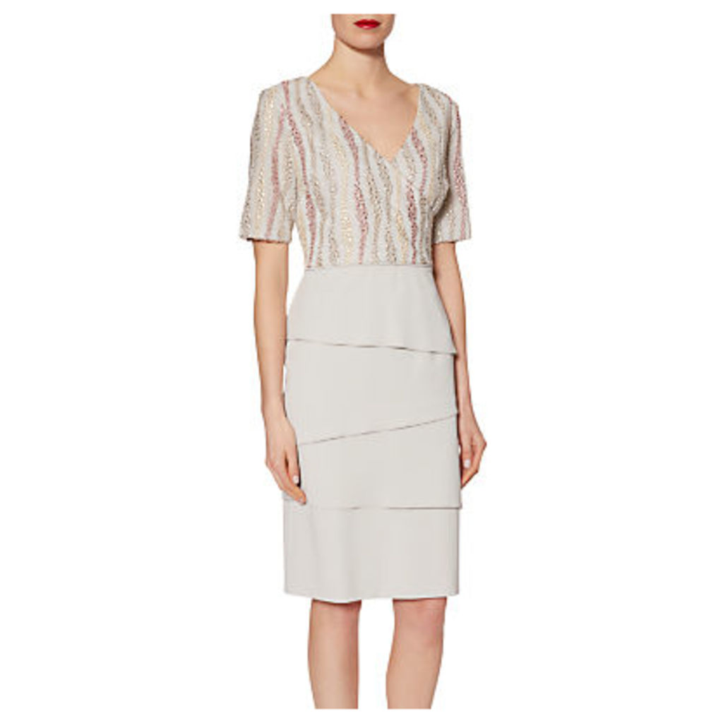 Gina Bacconi Crepe Dress With Embroidered Mesh Bodice, Silver Mist
