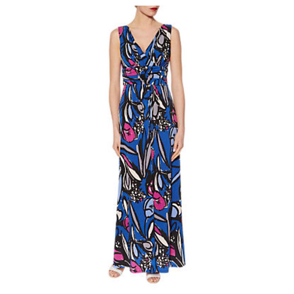 Gina Bacconi Abstract Floral Print Jersey Maxi Dress, Cobalt Blue