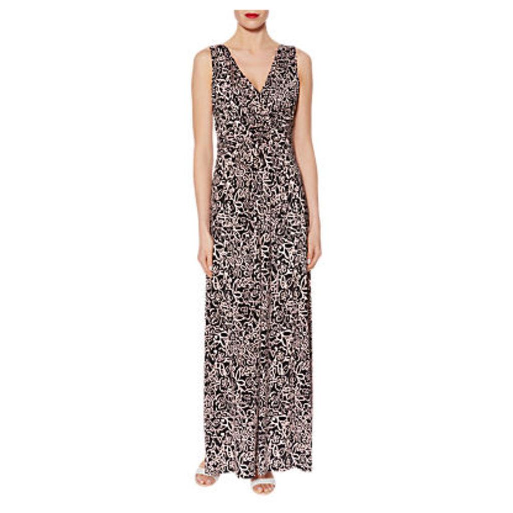 Gina Bacconi Floral Print Jersey Maxi Dress, Black/Pink