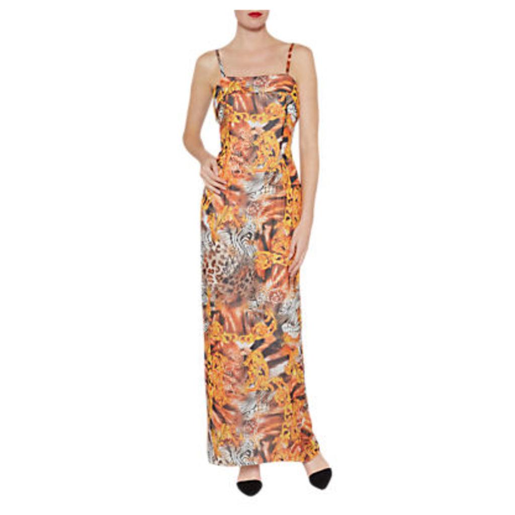 Gina Bacconi Abstract Printed Maxi Dress, Gold