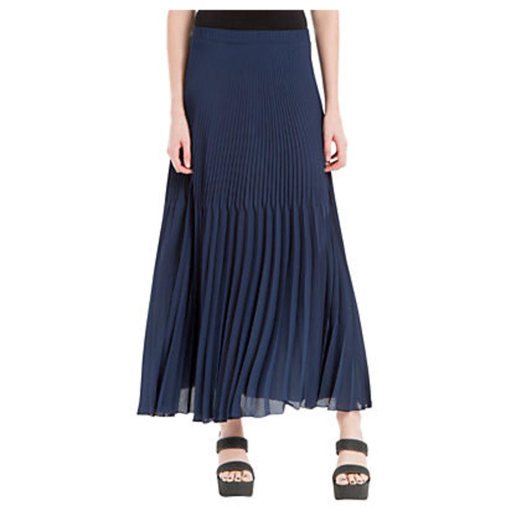 Max Studio Pleated Georgette Maxi Skirt, Navy