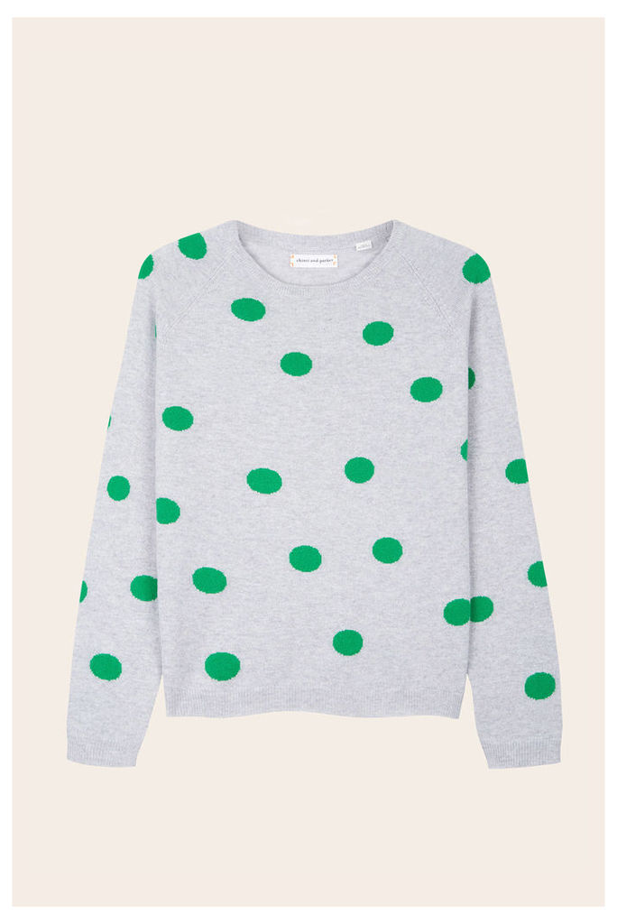 NEW EXCLUSIVE Silver Marl Polka-Dots Cashmere Sweater