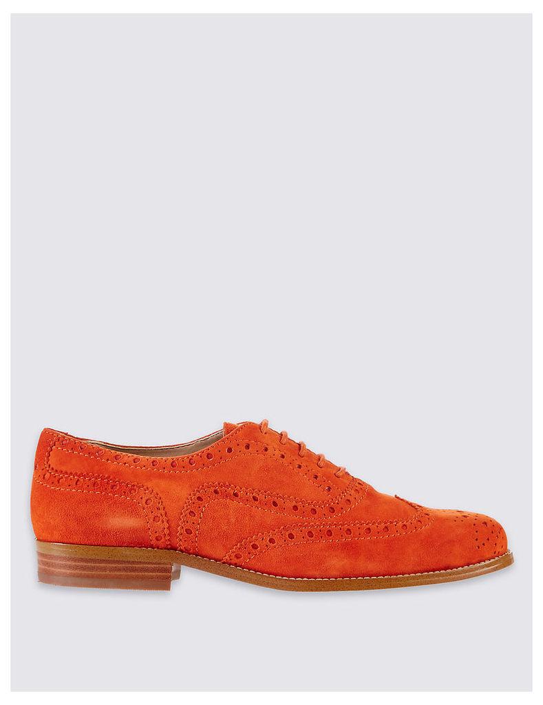 Designed by Twiggy Suede Block Heel Brogue Shoes