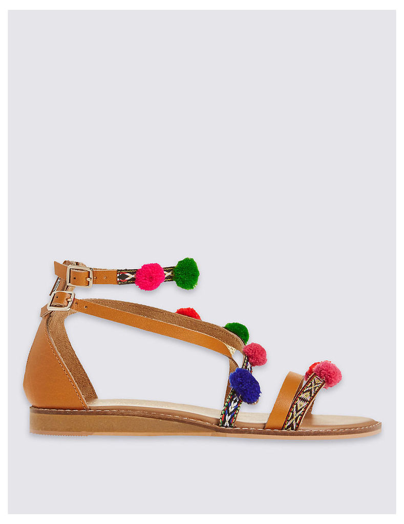 M&S Collection Cross Over Pom Pom Sandals