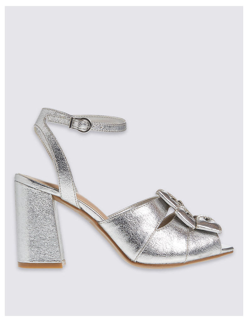 M&S Collection Block Heel Bow Heeled Sandals with Insolia