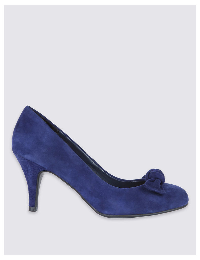 Designed by Twiggy Suede Stiletto Bow Court Shoes