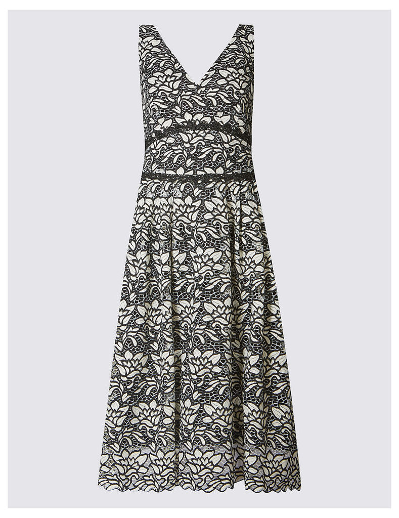 M&S Collection Floral Lace Sleeveless Skater Dress