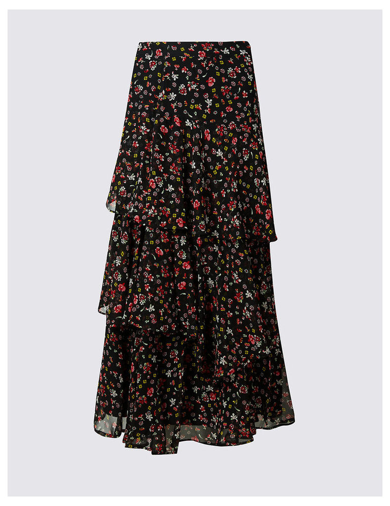M&S Collection Tiered Ditsy Print A-Line Maxi Skirt