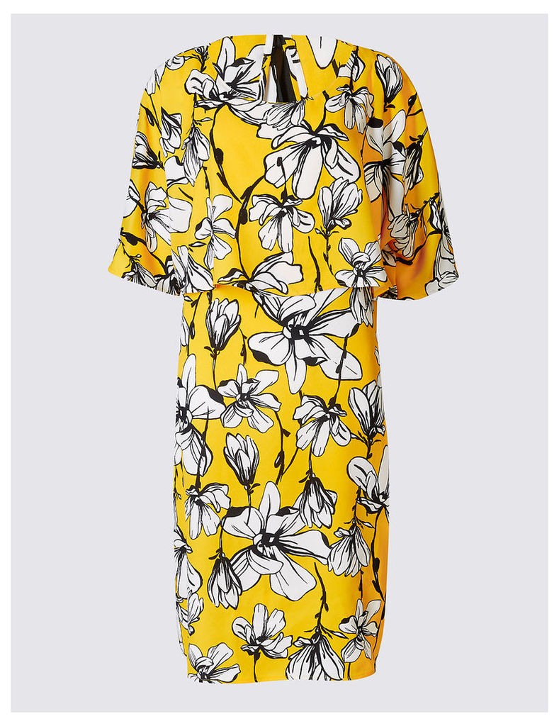 M&S Collection Floral Print Double Layered Shift Dress